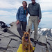 Ingrid and me and Bella at the summit (10,785 ft)