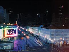 Chinatown (OzGFK) Tags: asia singapore chinatown cityscape lighttrails neon city cbd architecture buildings cinestill cinestill800t film analog 120 645 mediumformat pentax pentax645n motion cars moving movement