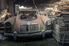 Annual check-up (Dennis van Dijk) Tags: mg classic car old vintage burned burn fire rust dust lost found automobile convertible britain british urbex urban exploration eu ue abandoned forgotten decay derelict beauty prescious moody amazing travel belgium wanderlust garage