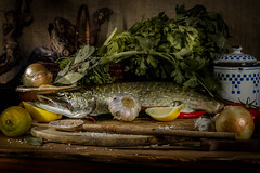 still life fish, Nature morte poisson brochet (Gremine) Tags: brochet cuisine poisson wingles citron tomate piment ail nature morte still life cuisiner repas