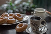 Coffee and Donuts (yazanrahhal1) Tags: coffee donuts morning background dof samyang 50mmf14 sony a7 fullframe composition indoor breakfast table cup plate spoon sugar