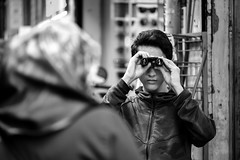 zooming (.Sabbracadabra.) Tags: people bokeh fujifilm fuji xt2 50140 telezoom zoom boy zooming street bw mono old new young city candit like 7dwf portrait blackandwhite