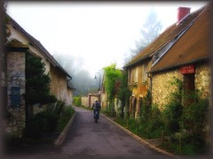 Into the mist.... (Sherrianne100) Tags: flickrdiamond village mist road bicyclette bicycle giverny france