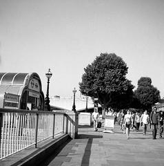 Festiavl pier (rotabaga) Tags: england lomo lomography lubitel166 london tmax100 120 6x6 mellanformat mediumformat blackandwhite bw bwfp svartvitt