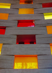 Interior, Meeting House, University of Sussex, UK (ossie.g) Tags: red yellow orange meeting house university sussex campus architecture