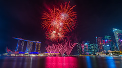 Singapore National Day Fireworks (BP Chua) Tags: fireworks singapore ndp2017 onenationtogether cbd marinanbay river colors asia night red nikon d800e wideangle landscape rehearsal marinabaysingapore marinabaysands buildings hotel tourism travel tourist water