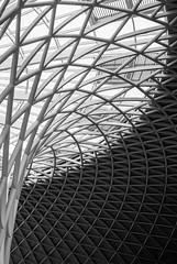 London Visit 2017 - May_OLYOM1_003_26 (benjaminjohnson1983) Tags: 2017 abstract blackwhite curves filmcamera flickr kingscross london londonvisit2017may olympusom1md westernconcourse roof