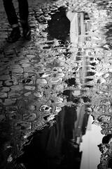 After Rain (parenthesedemparenthese@yahoo.com) Tags: dem alone bw blackwandwhite façades man mirror monochrome nb noiretblanc reflection roma rome shadow silhouette street streetphotgraphy afterrain aprèslapluie byn canoneos600d chaussures dehors ef50mmf18ii exterieur feet flaques games homme italia italie jourdepluie loneliness miroir outdoors pavement pieds pluie puddles rain rainingday reflecting seul shoes solitude streetphotographie