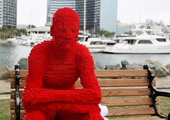 2016-Lego Red Man Statue by the Bay Outside SDCC-02 (David Cummings62) Tags: sandiego ca calif california comiccon con david dave cummings outside 2016 lego statue bay art