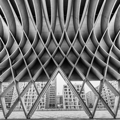 Curves (laga2001) Tags: black white monochrome bnw bw architecture structure pattern roof vienna austria wood building city urban geometry