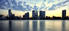Canary Wharf Sunset (PeskyMesky) Tags: london canarywharf isleofdogs red riverthames sky sunset sunrise docklands architecture