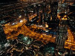 View of the Dusit Thani Dubai Hotel from the Burj Khalifa (Steve Wampler Photography) Tags: dubai trip travel vacation burj khalifa night nighttime dusit thani hotel