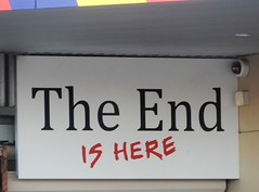 The End is Here (mikecogh) Tags: mileend sign ominous humour humor joke hotel camera surveillance uberveillance