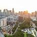 Luftaufnahme: Sonnenuntergang in Singapur
