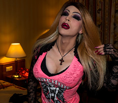 Pink top, Gothic look (Juliapanther Over 44 million views, thanks!!!) Tags: julia panther juliapanther tgirl dressing goth gothic lips lipstick red pink top pinup posing portrait lace bolero gloves nails hoops glamour vamp model