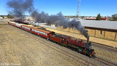 Smokey train (Dylan B`) Tags: qr qgr queensland rail railway train steam smoke c17 class 971 warwick southern downs darling granite belt morning sunny drone photography dji phantom 3 4 mavic pro locomotive engine heritage historical