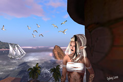 ♛Øcعan♛ (Sydney Levee) Tags: birds mouettes sky maitreya lelutka mesh tatoo taox fantasy viewer firestorm photoshop pictures hair sea mer mare beach palms palmiers tres ocean realvil fashion snaps maps sims resort woman girl femme elfe addict animal story face hurley vista pose animation tag wave stream avatar metavers virtuel pic mystical women female imaginaire quality pileup true love amour