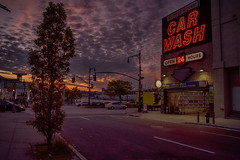 Early may sunsets (Alexander Marte Reyes) Tags: sunset newyorkcity street cars transporation westsidehighway carwash building architecture clouds tree nikond750 nikonloveny