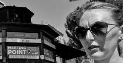 Meeting point. (Baz 120) Tags: candid candidstreet candidportrait city candidface candidphotography contrast street streetphoto streetcandid streetphotography streetphotograph streetportrait rome roma romepeople romestreets romecandid europe monochrome monotone mono blackandwhite bw noiretblanc urban voightlander voigtlandercolorskopar21mmf40 leicam8 leica life primelens portrait people italy italia girl faces decisivemoment strangers