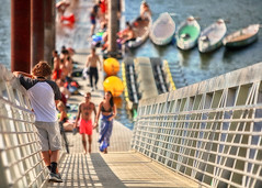 Summer Madness (Ian Sane) Tags: ian sane images summermadness people dock pedestrian bridge ramp boats swimming willamette river southeast portland oregon candid street photography canon eos 5ds r camera ef70200mm f28l is usm lens
