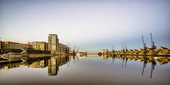 Dock (Acero666) Tags: 2017 england industrial royalvictoriadock thames aqua art bridge crane darkart docklands london longexposure published reflection urban water