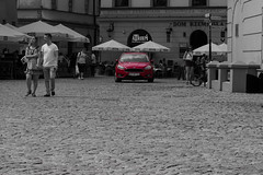 Car (Grzegorz Krol) Tags: lublin colors black white single red old town