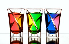 Rainbow Colours (Karen_Chappell) Tags: glass liquid rainbow spectrum roygbiv red orange green yellow blue pink white three colourful multicoloured glasses stilllife colours colour color 3