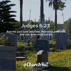 "Judges 6-23 ""And the Lord said unto him, Peace be unto thee; fear not: thou shalt not die."" (@CHURCH4U2) Tags: bible verse pic"