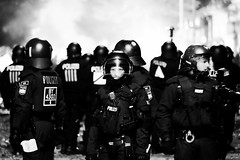 G20 in Hamburg (1) - July, 2017 (Konrad Lembcke) Tags: g20 hamburg germany black white police polizei summit protest demonstration sternschanze schanzenviertel schulterblatt low light night street photography