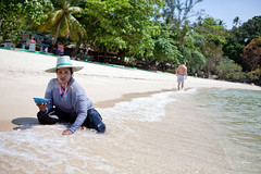 Collecting shells (BDphoto1) Tags: asia thailand kohphangan beach water surf sand woman thai female outdoors sun searching nature activity horizontal color photograph people hat