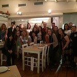 The Honors group poses together at their farewell dinner with the Athens Centre.