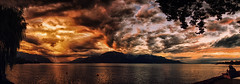 Lac Léman Summer Evening (PiConsti) Tags: piconsti lac léman leman genf genfersee martigny waadt vaud villneuve montreux vevey geneva lake camping maladaire holiday vacances sommer abend eveneing thunder thunderstorm storm clouds red orange rot rouge sky impressive bedrohlich scary incoming alps mountains water calm picture trees sitting ufer contrast kontrast panorama vertorama switzerland suisse schweiz svizzera suiza lago colours farben stimmung mood abendstimmung