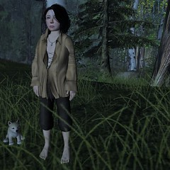Morning sunlight (Mordred Avindar) Tags: child childhood explore boy forest woods fantasy fairytale tree adventure alone character avatar roleplay rp sl shadow costume innocent outdoors tweenster walk wait wave kid medieval rustic ranger story quiet light lotr little young bright nature summer trees blue noldor viking got stark mordred myth tunic gb meshmerized jian loki renaissance street animal play people pesant virtual world second life dramatic day dress up lad landscape hobbiton small elfling middleearth shire