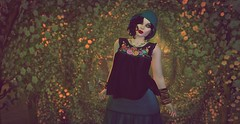 In the forest (likethewaves) Tags: secondlife sl fashion slfashion stye 1920s 20s 1920 1930s 30s 1930 flapper vintage retro classic boho bohemian floral embroidered embroidery florals flowers flower colorful forest trees nature stylish