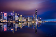 Serrated (draken413o) Tags: hong kong architecture cityscapes skyline skyscrapers urban places scenes asia travel destinations golden bauhinia square night reflections canon 5dmk4 24mm tse long exposure lee filters neutral density wow blues central wanchai