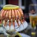 crown of prawns and a boke beer