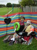 Love Island scarecrows (Nekoglyph) Tags: hinderwell scarecrow festival 2017 yorkshire village portmulgrave realitytv loveisland stripy windbreak old flippers beach colourful garden inflatable wellies