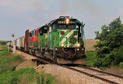 On The Move Towards Clayton (BravoDelta1999) Tags: burlingtonnorthern bn railroad kyle railway chicagorockislandandpacific crip clayton kansas emd sd402 6843 manifest train searchlight signal