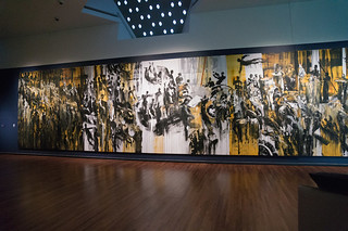 Ahmad Moualla's 12x3 m mural People and Power, borrowed from the Atassi Foundation