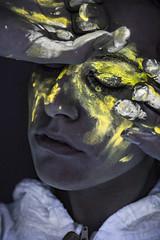 Unsee (Pietro Agostini) Tags: glow uv light blacklight uvlight girl beautiful beauty darkness gloom yellow paint black portrait creepy