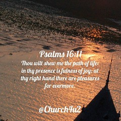 "Psalms 16-11 ""Thou wilt shew me the path of life: in thy presence is fulness of joy; at thy right hand there are pleasures for evermore."" (@CHURCH4U2) Tags: bible verse pic"