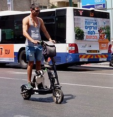 With el-bike and dog in Tel Aviv (jonarnefoss2013) Tags: fujifilmx70 ilovetlv asia telaviv israel