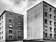 La Rochelle France 2017 (Delay Tactics) Tags: france flats windows apartments buildings architecture gritty grainy bleak black white bw sky 1000 upload 1000th