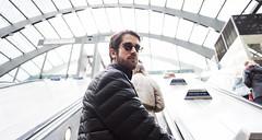Canary Wharf Station - London (Moorebig50) Tags: canarywharf manonescalator youngman ilobsterit tube london