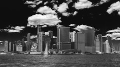 Manhattan bound from Governors Island. (Gimo Nasiff) Tags: gimo nasiff photographer manhattan downtown nyc wtc one world trade center financial district sky landscape cityscape monochrome monocromo bnw hudson east river sailing boat ferry new york city sony ilce6000 ilcea6000 a6000 a6k ground zero