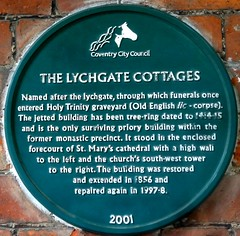 [52673] Coventry : Lychgate Cottages (Budby) Tags: coventry westmidlands timbered plaque information history heritage