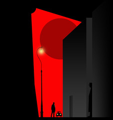 The waiting game. (yamstar1) Tags: red black graphic pulpfiction viaduct lamp motor thewaitinggame