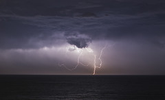 Lightning in Poole Bay (Nick L) Tags: lightning thunder landscape seascape clouds sea thunderstorm bournemouth dorset uk horizon canon5d3 canon2470li eos