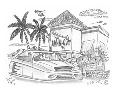In N Out Lippo (rod1691) Tags: bw scifi grey concept custom car retro space hotrod drawing pencil h2 hb original story fantasy funny tale automotive art illistration greyscale moonpies sketch