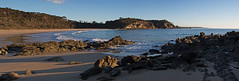 Barragga Bay panorama (OzzRod) Tags: pentax k1 smcda21mmf32limited stitch panorama bay beach headland rocks sunrise barragga nsw